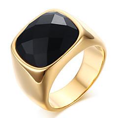 남성용 문자 반지 새해 맞이 오닉스 의상 보석 스테인레스 애것(마노) 보석류 제품 파티 일상 캐쥬얼