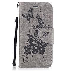 Mert Pénztárca Kártyatartó Állvánnyal Flip Dombornyomott Minta Case Teljes védelem Case Pillangó Kemény Műbőr mert AppleiPhone 7 Plus