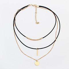 Women's Choker Necklaces Tattoo Choker Alloy Round Tube Tattoo Style Fashion Gold Silver Jewelry Daily 1pc