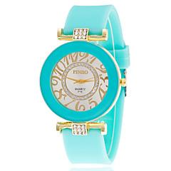 Dames Modieus horloge Gesimuleerd Diamant Horloge Kwarts Strass imitatie Diamond Silicone Band VrijetijdsschoenenZwart Wit Blauw Rood