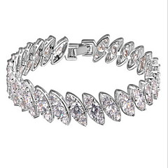 Dames Armbanden met ketting en sluiting Natuur Modieus Luxe Sieraden Kristal Zirkonia Kubieke Zirkonia Hars Ronde vorm Zilver Sieraden