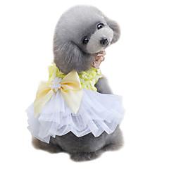 Koirat Hameet Smokki Koiran vaatteet Kesä Rusetti Söpö Häät Muoti Keltainen Pinkki