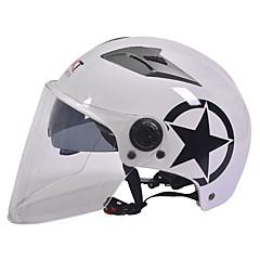GXT M11 Kask motocyklowy pół podwójnego obiektywu harley hełm lato unisex krem nadaje się do 55-61cm z długim obiektywem przejrzysty