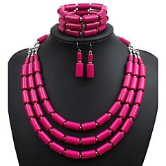 Ensemble de bijoux Résine euroaméricains Forme Ovale Bleu de minuit Violet Rouge de Rose Vert Bleu SetMariage Soirée Occasion spéciale