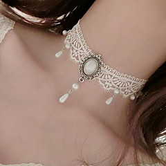 Damskie Naszyjniki choker Pearl imitacja Flower Shape Imitacja pereł Koronka Tatuaż Kwiat Wiszący White Biżuteria NaŚlub Impreza