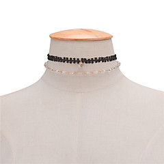 Women's Layered Necklaces Crystal Crystal Lace Jewelry Unique Design Double-layer Euramerican Handmade Simple Style Fashion Black Jewelry
