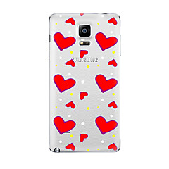 For Transparent Mønster Etui Bagcover Etui Hjerte Blødt TPU for Samsung Note 5 Note 4 Note 3 Note 2