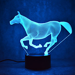 Christmas Horse Touch Dimming 3D LED Night Light 7Colorful Decoration Atmosphere Lamp Novelty Lighting Christmas Light