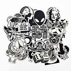 Ziqiao 100 pcs preto e branco cool diy adesivos para o skate do carro laptop bagagem snowboard geladeira brinquedo do telefone que decora