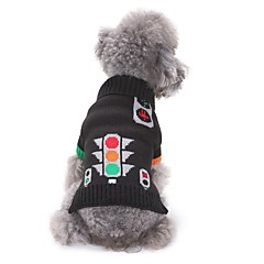 Gatos Perros Suéteres Ropa para Perro Invierno Geométrico Adorable Moda Casual/Diario Negro