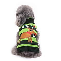 Gatos Perros Suéteres Ropa para Perro Invierno Reno Adorable Moda Navidad Verde