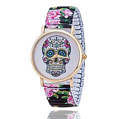 Fashion Flower Printed Spring Watch Stainless Steel Skull Skeleton Watch for Women Quartz Watch Relogio Feminino