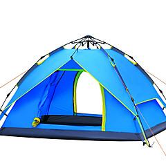 3-4 henkilöä Teltta Kaksinkertainen Automaattinen teltta Yksi huone teltta Fiberglass Ultraviolettisäteilyn kestävä Tuulen suoja-Vaellus