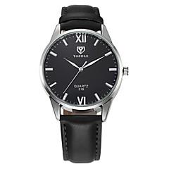 YAZOLE Homens Relógio Elegante Relógio de Pulso Quartzo / Couro Banda Casual Preta Marrom