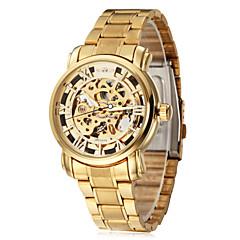WINNER Hombre Reloj de Pulsera El reloj mecánico Cuerda Automática Huecograbado Acero Inoxidable Banda De Lujo Dorado Dorado