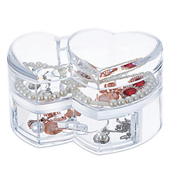 Acrílico grande capacidade coração maquiagem cosméticos organizador de armazenamento jóias caixa de exibição caixa tampa gaveta