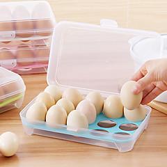 1pcs 15 빈 주방 냉장고 계란 보관 상자 홀더 보존 상자 휴대용 플라스틱 넣어 계란 상자 홈 주방 스토리지 도구 임의의 색상