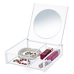 Espelho Caixa de Cosméticos Others Organizador para Maquiagem Cor Única Quadrada Acrílico Transparentes