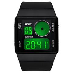 Men's Digital Watch Chinese Quartz Alloy Silicone Band Black White Blue Green