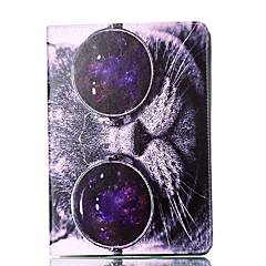 リンゴipadのための4 3 2ケースカバー猫のパターンカードステントpu素材平らな保護シェル