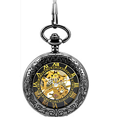 Men's Skeleton Watch Pocket Watch Mechanical Watch Automatic self-winding Alloy Band Black