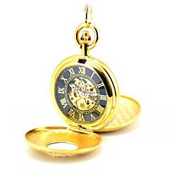 Heren Skeleton horloge Zakhorloge mechanische horloges Kwarts Automatisch opwindmechanisme Legering Band Goud