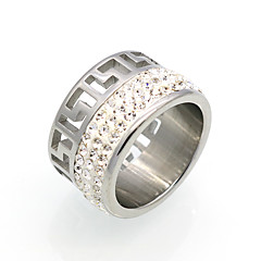 New Fashion Hollow Cubic Zirconia Personality Brand Design Titanium Steel  Rings For Women