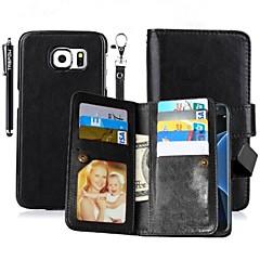 For Kortholder Pung Med stativ Flip Magnetisk Etui Heldækkende Etui Helfarve Hårdt Kunstlæder for SamsungNote 5 Note 4 Grand Prime Core
