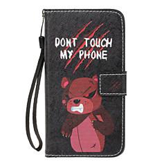 Huawei P8 lite (2017) p10 lite burkolata dühös medve minta pu anyag festett kártya pénztárca stent all-inclusive telefon esetében P8 P9