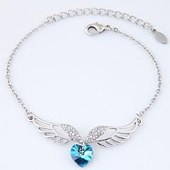 Damskie Bransoletki z breloczkami Rhinestone Modny Stop Heart Shape Skrzydła / Feather Biżuteria Na Impreza 1szt
