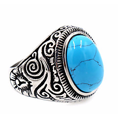 Women's Men's Ring Turquoise Basic Unique Design Stainless Steel Topaz Round Jewelry Thank You Daily Casual Thanksgiving