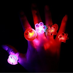 3PCS Cartoon Soft Led Finger Ring Toy Flash Luminous Ring Toy Party Props Light Up Toy and Kids Birthday Colorful Gift Ramdon Style