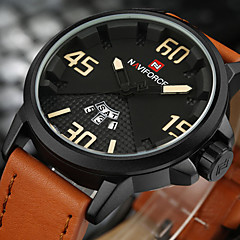 NAVIFORCE Men's Sport Military Fashion Watch Wristwatch Luxucy Casual Calendar Large Dial PU Band Creative Watch Quartz Unique Cool Watches