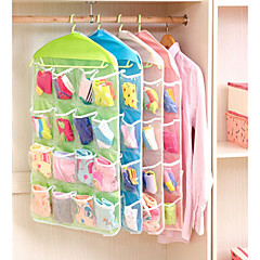 Transparent Visible Storage Bag Wardrobe Door 16 Grid Hanging Bag Wardrobe Underwear Socks Storage Hanging Bag Wall Hanging