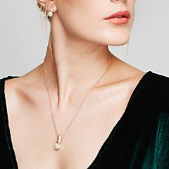 Mulheres Conjunto de Jóias Brincos Curtos Colares com Pendentes Pérola Imitação de Diamante Básico Moda Europeu Elegant bijuterias Pérola