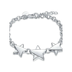 Exquisite Silver Plated Sweet Triple Five-Star Chain & Link Bracelets Jewellery for Women Accessiories