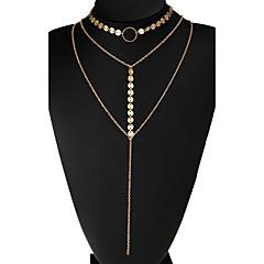 Dames Choker kettingen Cirkelvorm Legering Uniek ontwerp Meerlaags Kostuum juwelen Euramerican Sieraden Voor Bruiloft Feest Dagelijks