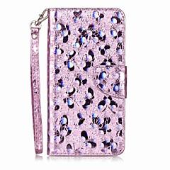 Caso para maçã iphone 7 mais 7 suporte de cartão flip padrão caixa de telefone borboleta brilho brilho pu couro para iphone 6s 6 6splus