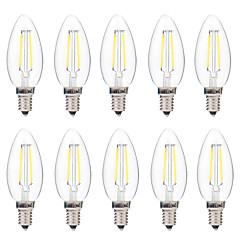2W LED Λάμπες Πυράκτωσης C35 2 COB 200 lm Θερμό Λευκό Άσπρο Με ροοστάτη AC 220-240 V 10 τμχ