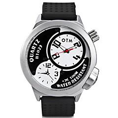 Ανδρικά Μοδάτο Ρολόι Μοναδικό Creative ρολόι Κινέζικα Χαλαζίας Μεγάλο καντράν σιλικόνη Μπάντα Απίθανο Μαύρο