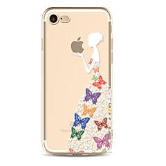 Przypadku dla iphone7 7plus dziewczyna motyl jeść jabłko wzór tpu miękki przypadku dla iPhone 6s 6 plus se 5s 5