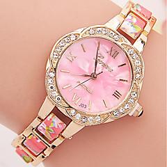 Dames Modieus horloge Armbandhorloge Kwarts Strass Kleurrijk Plastic Band Bloem VrijetijdsschoenenZwart Blauw Rood Bruin Groen Roze Paars