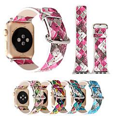 38 / 42mm geometriske udskrifter farverige pu læder ur band armbånd til æble ur iwatch 1/2 serie