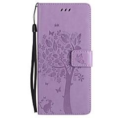 voor case cover kaarthouder portemonnee met tribune flip reliëf volledige body case kat vlinder boom hard pu leer voor Samsung Galaxy Note