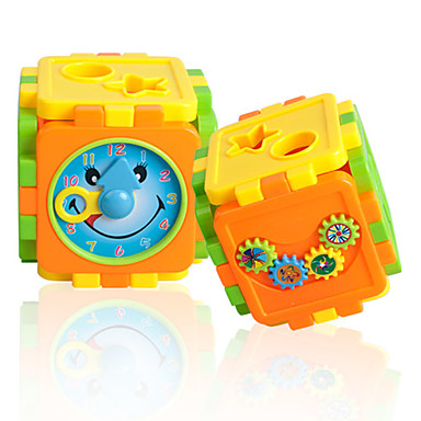 Colorful Collapsible Box Building Blocks with Plastic Clock