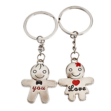 1-Pair Aluminum Boy and Girl Couple Keychain
