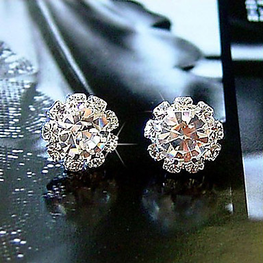 Stud Earrings Crystal Zircon Cubic Zirconia Simulated Diamond Alloy Simple Style Fashion Flower Sunflower White Jewelry Daily