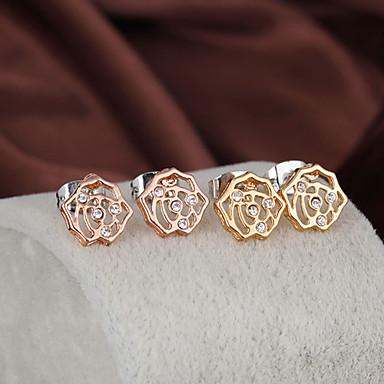 Gold plated bronze zircon stud Earrings ERZ0158