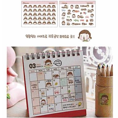 Little Girl PVC Transparent Diary Stickers Set(2 PCS)