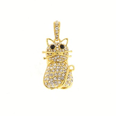 ZP 16GB Golden Little Cat Pattern Bling Diamond Metal Style USB Flash Drive
